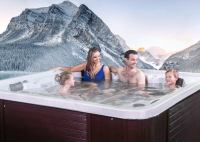 Family relaxing in the hot tub